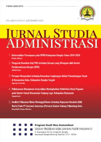 View Vol. 1 No. 1 (2020): Jurnal Studia Administrasi