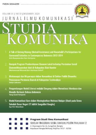 View Vol. 3 No. 2 (2020): Studia Komunika: Jurnal Ilmu Komunikasi
