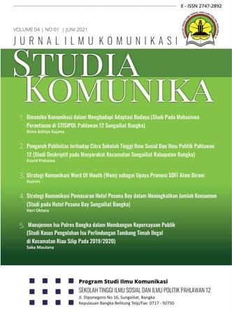 View Vol. 4 No. 1 (2021): Studia Komunika: Jurnal Ilmu Komunikasi